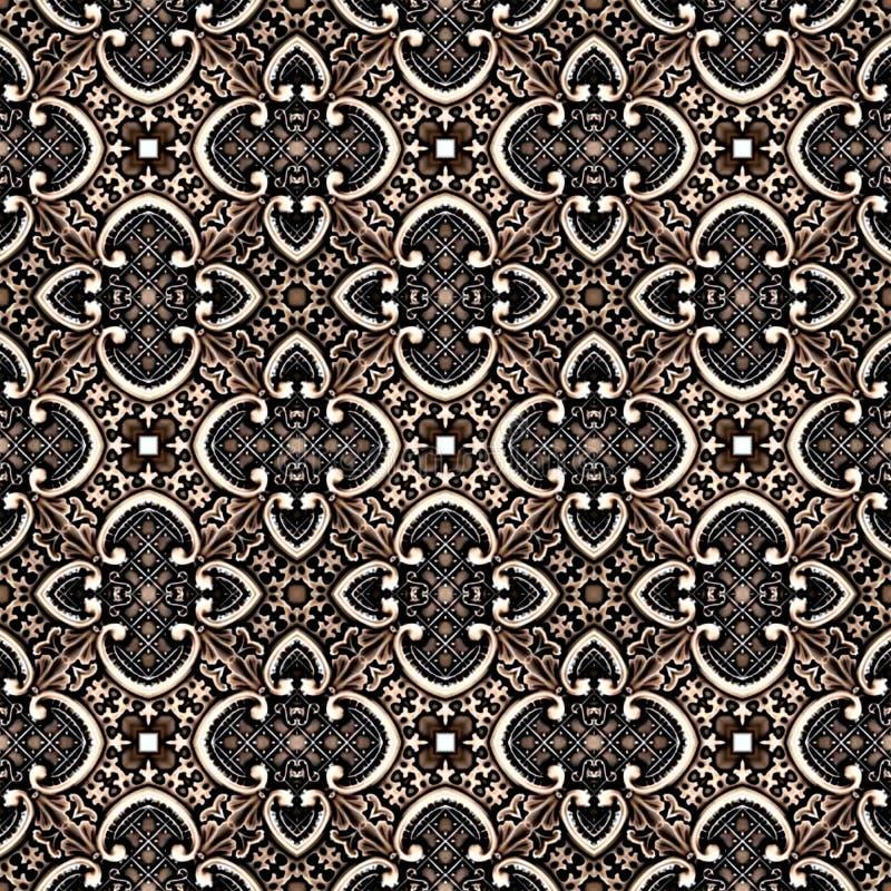 无缝的抽象在织地不很细帆布五颜六色的花装饰设计的葡萄酒背景色的马赛克对称样式 向量例证