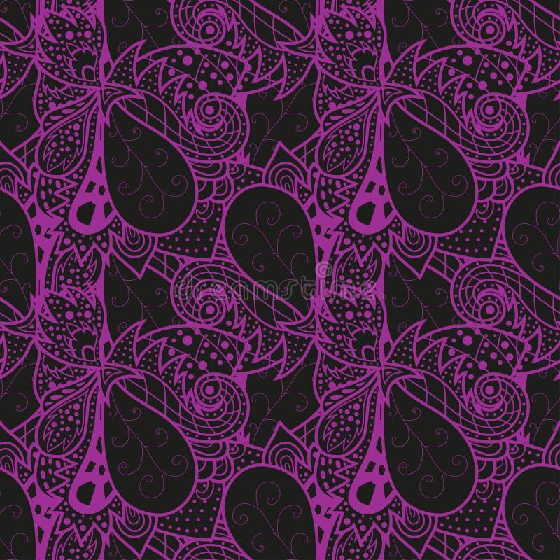 无缝的抽象手拉的波动图式 皇族释放例证
