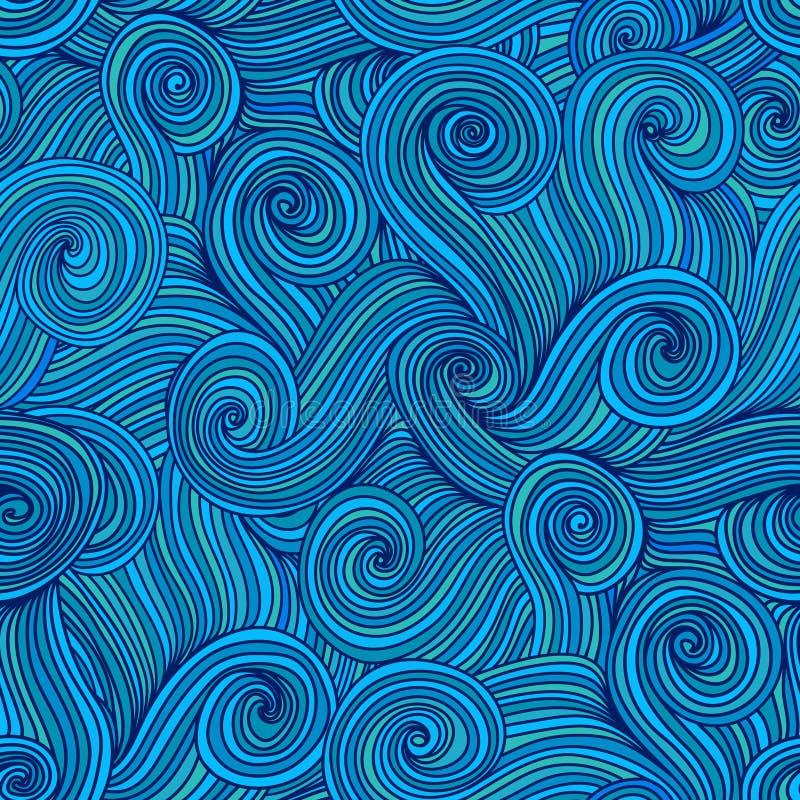 无缝的抽象手拉的波浪纹理,波浪背景 海 向量例证