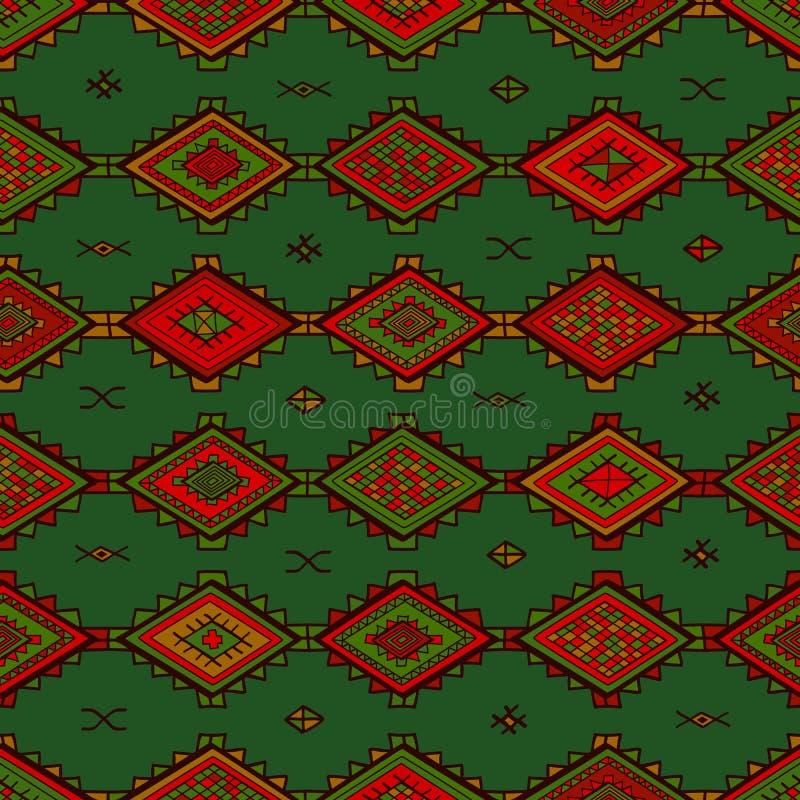 无缝的抽象手拉的ethno样式,部族背景 向量例证