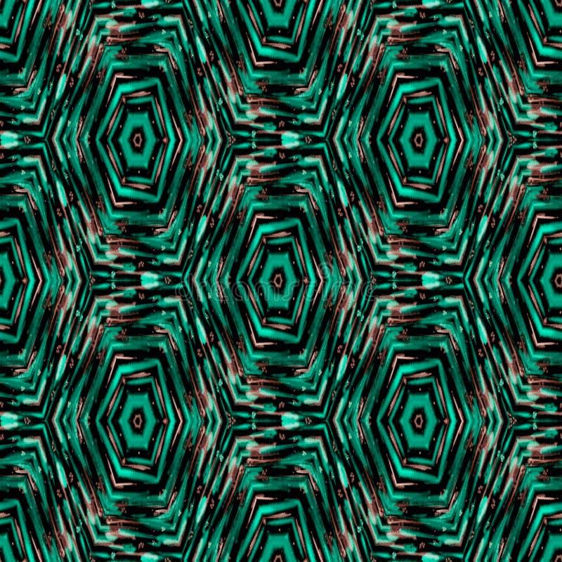 无缝的抽象种族ikat样式 绿松石,棕色背景 库存例证
