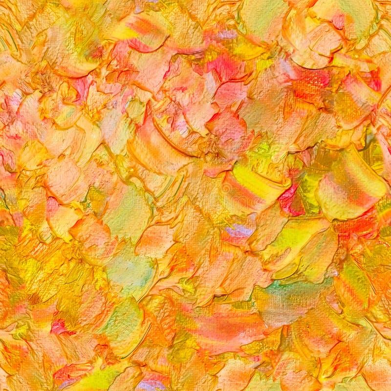 无缝的抽象织地不很细油样式秋天颜色在帆布留下概念,绘 Impasto艺术品 库存例证
