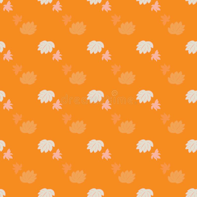 无缝的抽象花卉叶子传染媒介样式 在橙色背景的小桃红色叶子 r 库存例证