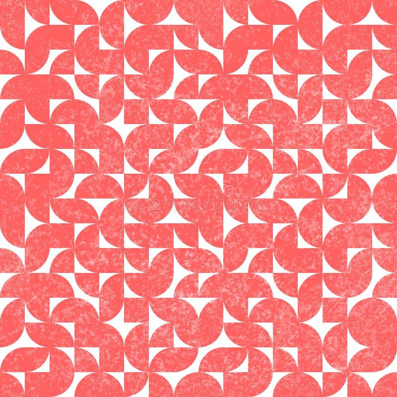 无缝的抽象葡萄酒样式 难看的东西老纺织品 逗人喜爱的桃红色和白色几何印刷品 r 向量例证