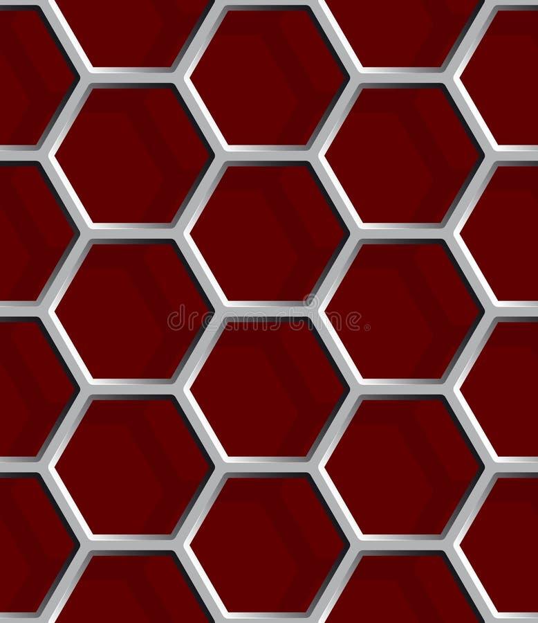无缝的抽象蜂窝滤网背景-六角形 库存例证