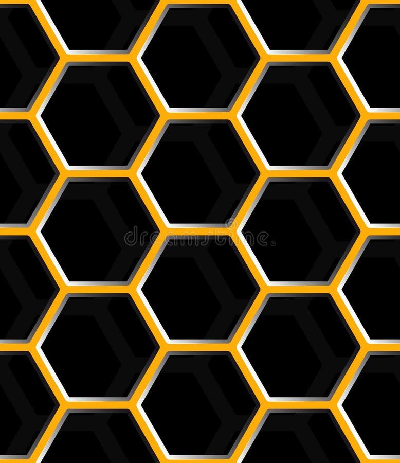 无缝的抽象蜂窝滤网背景-六角形 皇族释放例证