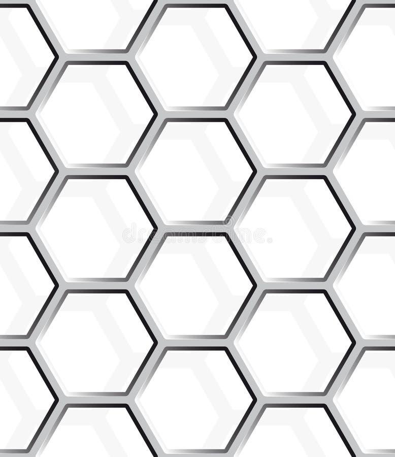 无缝的抽象蜂窝滤网背景-六角形 向量例证