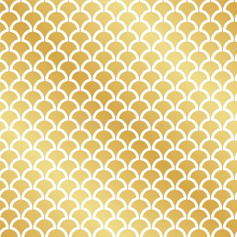 无缝的抽象装饰艺术运动金叶样式 皇族释放例证