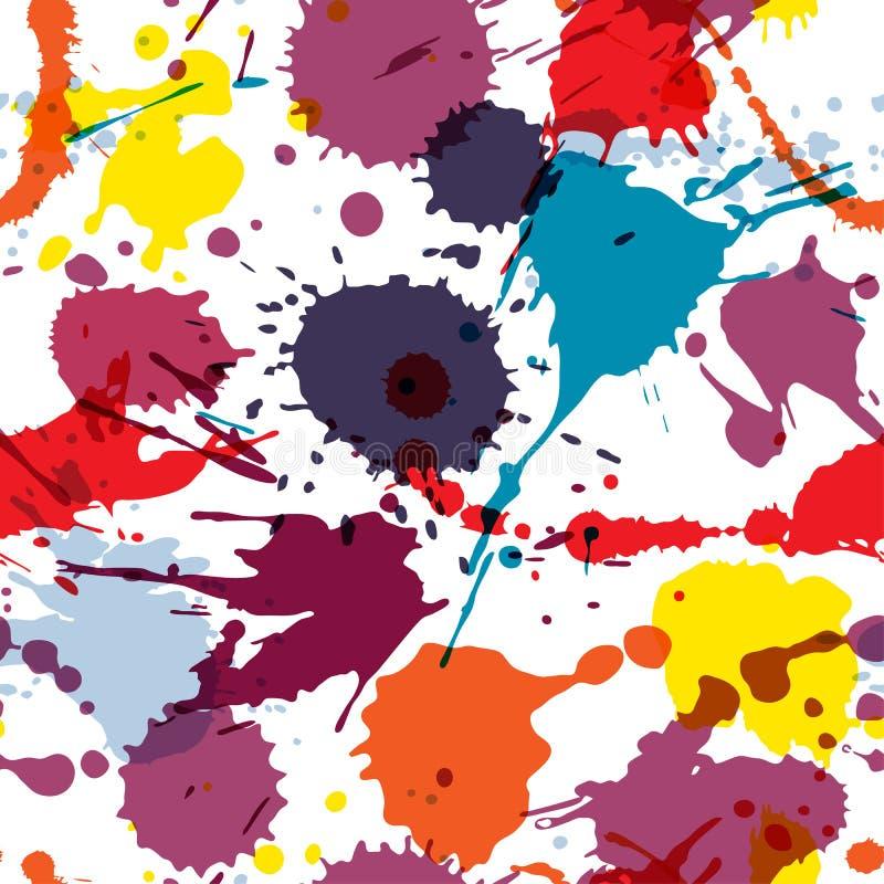无缝的抽象难看的东西传染媒介无缝的样式 五颜六色的艺术性的飞溅污点 斑点墨水弄脏背景 库存例证