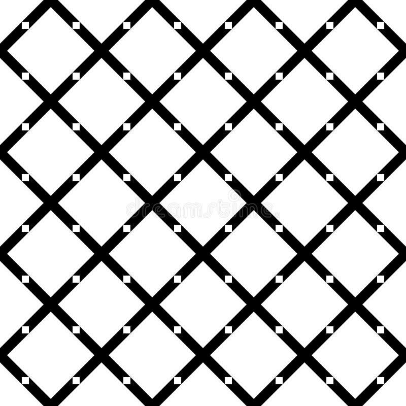 无缝的抽象黑白方形的网格图形-从对角线的半音传染媒介背景设计环绕了正方形 库存例证