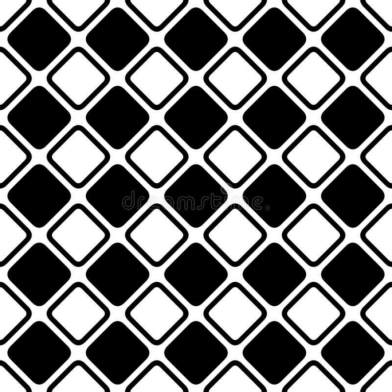 无缝的抽象黑白方形的网格图形-从对角线的半音传染媒介背景设计环绕了正方形 向量例证