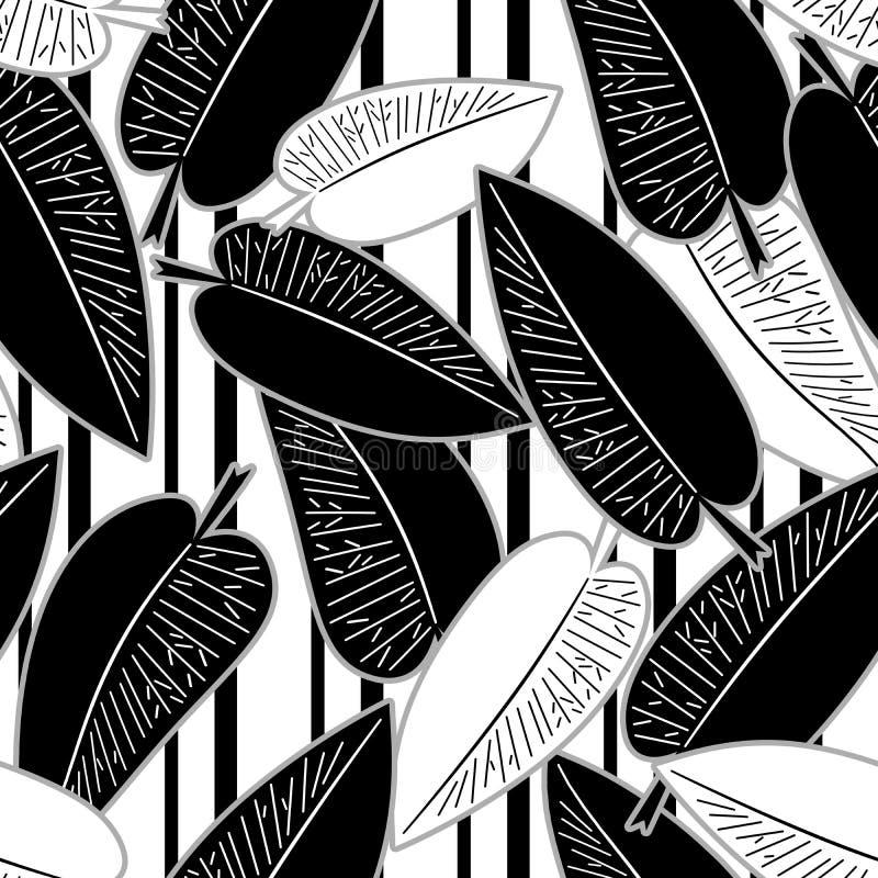 无缝的抽象minimalistic艺术留下花卉样式 向量例证
