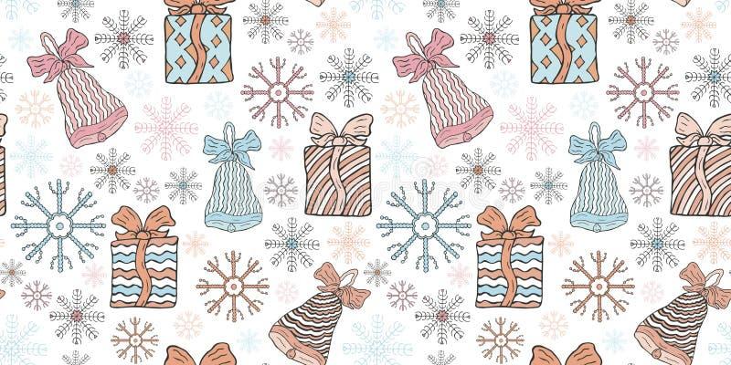 无缝的新年和圣诞节样式 礼物、响铃和雪花在白色背景 向量例证