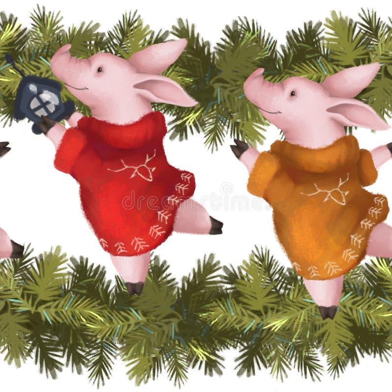 无缝的新年度模式 在毛线衣的小猪有云杉的圣诞节诗歌选的 年的标志2019年 向量例证
