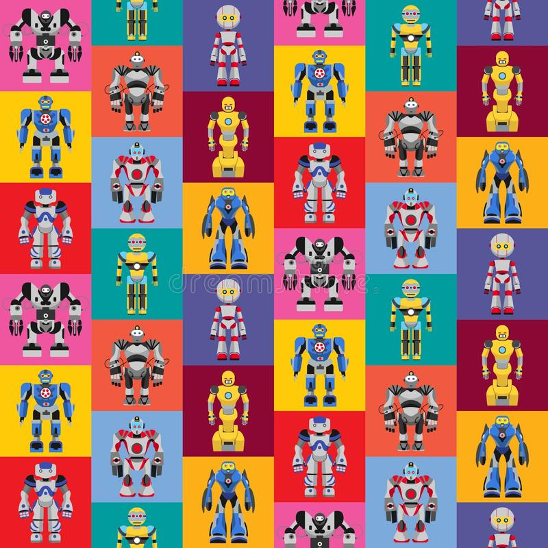 无缝的方形的机器人样式 向量例证