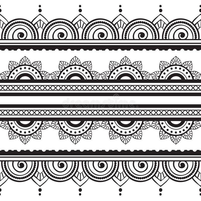 无缝的无刺指甲花边界传染媒介集合抽象花卉样式2 向量例证