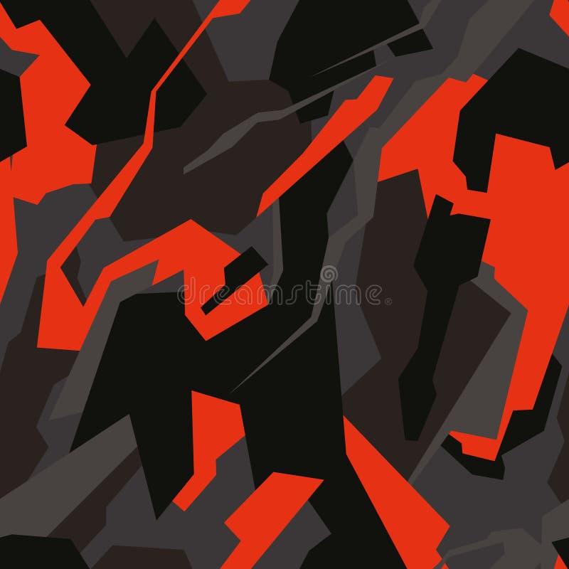 无缝的时尚黑暗和橙色寻找的camo 免版税图库摄影