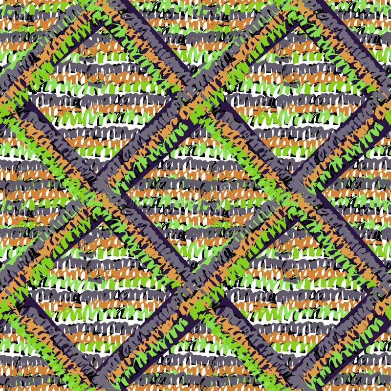 无缝的时髦rustict编织的样式 免版税库存图片