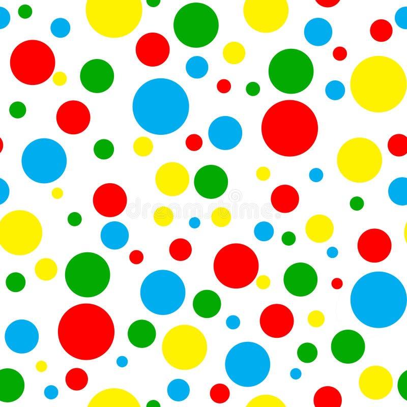 无缝的明亮的多圆点花样的布料 向量例证