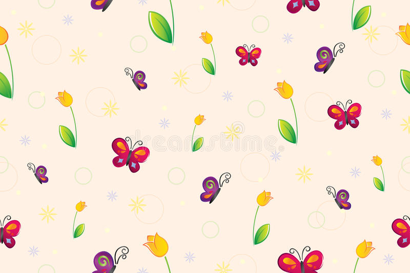 无缝的春天墙纸 库存例证