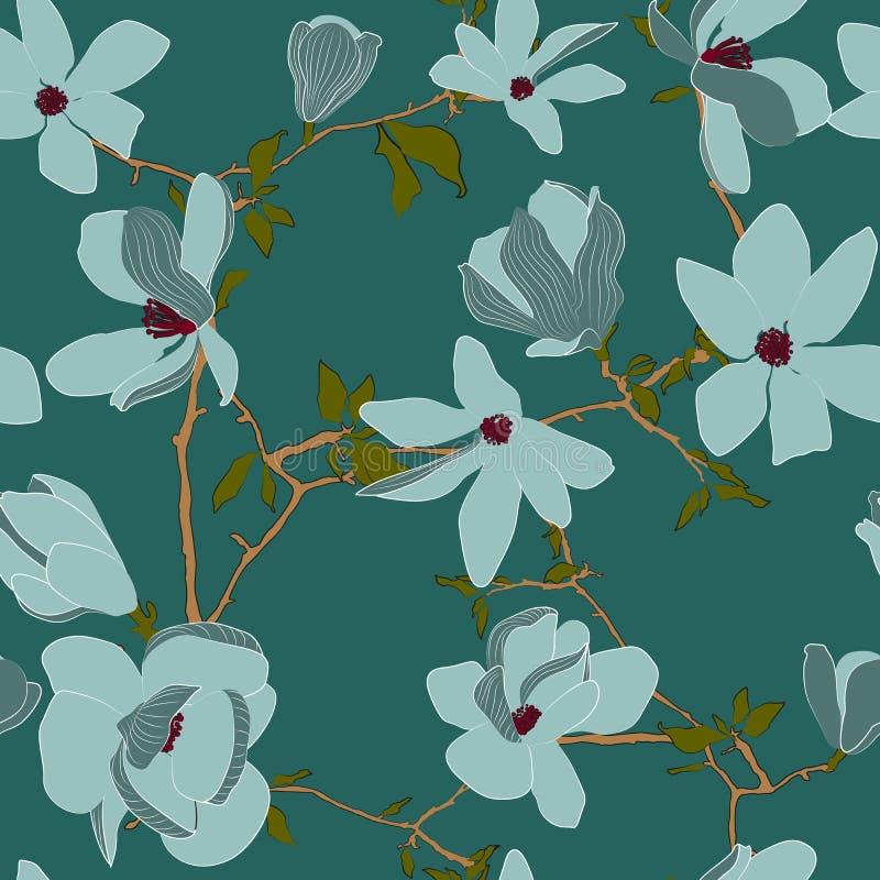 无缝的春天花卉样式 皇族释放例证