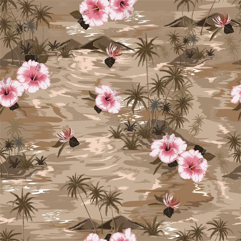 无缝的有开花的木槿花、棕榈树和异乎寻常的植物的样式葡萄酒心情单调米黄海岛夏天天堂 皇族释放例证