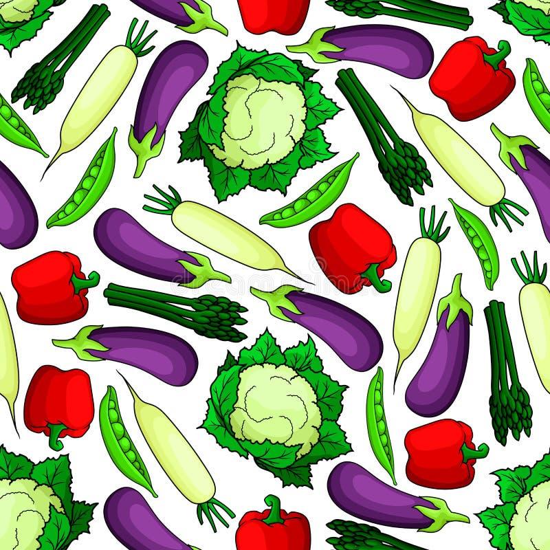 无缝的有机新鲜蔬菜样式 皇族释放例证