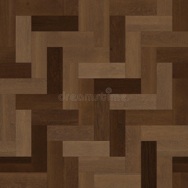 无缝的木木条地板纹理人字形各种各样的褐色 向量例证