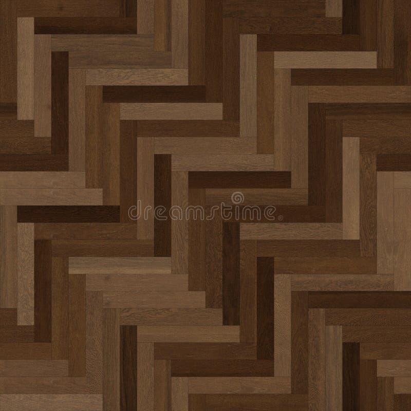 无缝的木木条地板纹理人字形各种各样的褐色 皇族释放例证