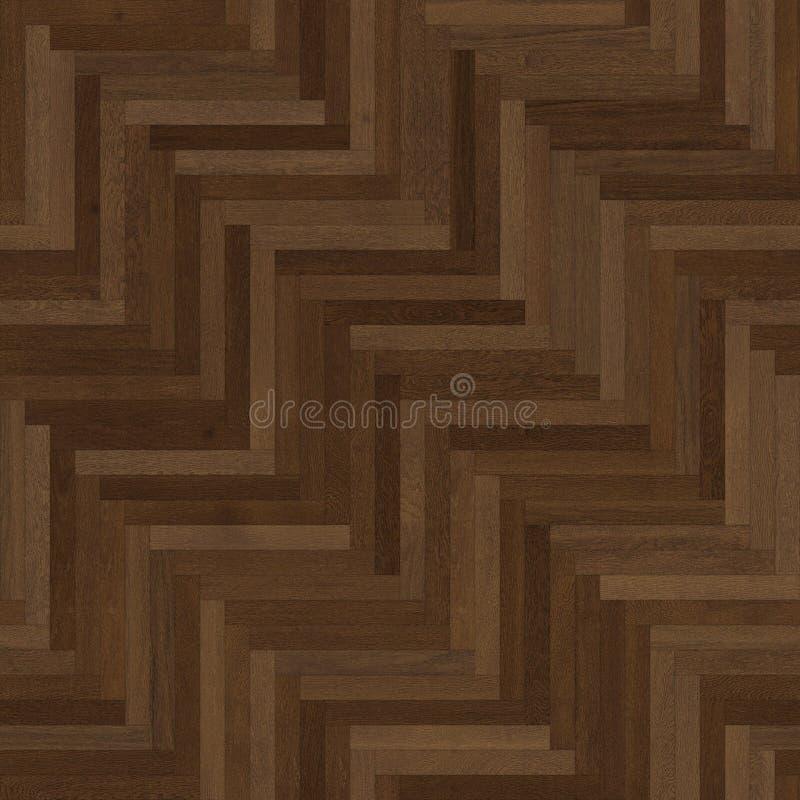 无缝的木木条地板纹理人字形褐色 向量例证