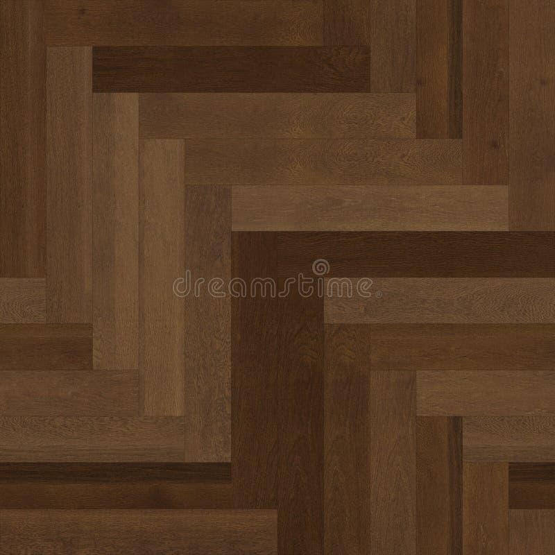 无缝的木木条地板纹理人字形褐色 库存例证