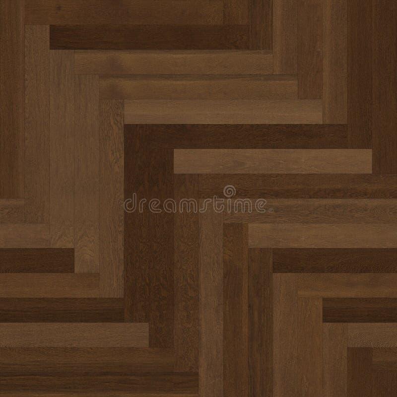 无缝的木木条地板纹理人字形褐色 皇族释放例证
