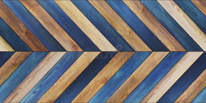 无缝的木木条地板纹理水平的V形臂章各种各样的蓝色 免版税图库摄影