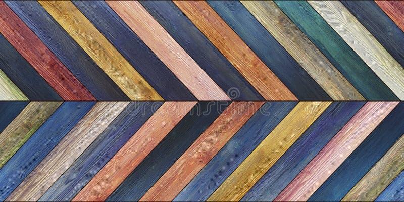 无缝的木木条地板纹理水平的V形臂章各种各样的蓝色 免版税库存图片