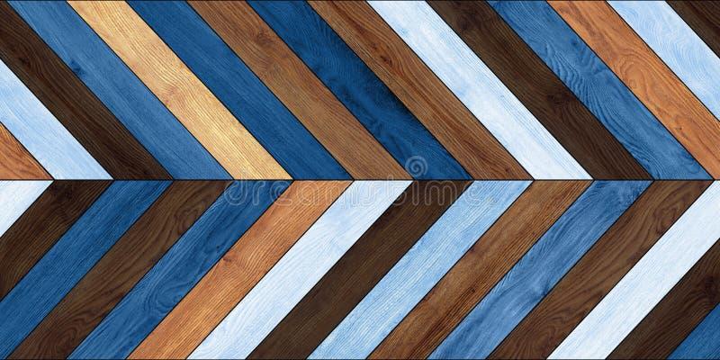 无缝的木木条地板纹理水平的V形臂章各种各样的蓝色 库存照片
