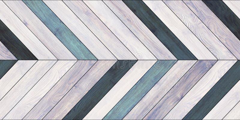 无缝的木木条地板纹理水平的V形臂章各种各样的蓝色 免版税库存照片
