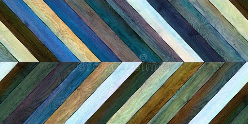 无缝的木木条地板纹理水平的V形臂章各种各样的蓝色 库存图片