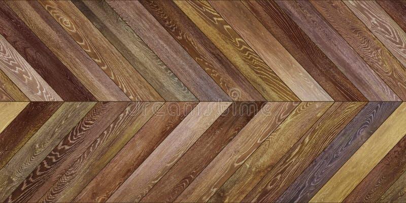 无缝的木木条地板纹理水平的V形臂章各种各样的褐色 图库摄影