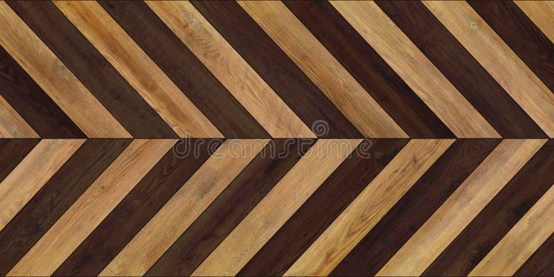 无缝的木木条地板纹理水平的V形臂章各种各样的褐色 免版税库存图片