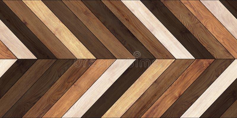 无缝的木木条地板纹理水平的V形臂章各种各样的褐色 库存照片