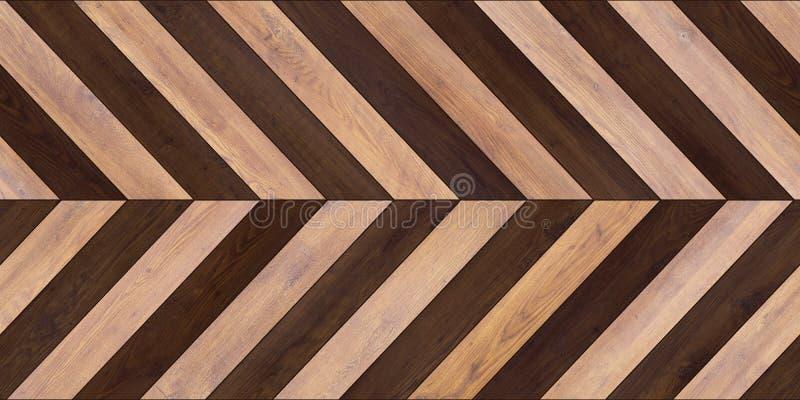无缝的木木条地板纹理水平的V形臂章各种各样的褐色 免版税库存照片