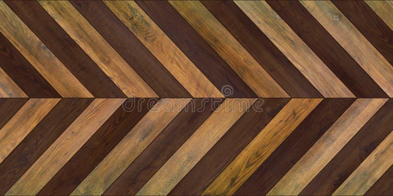 无缝的木木条地板纹理水平的V形臂章各种各样的褐色 库存图片
