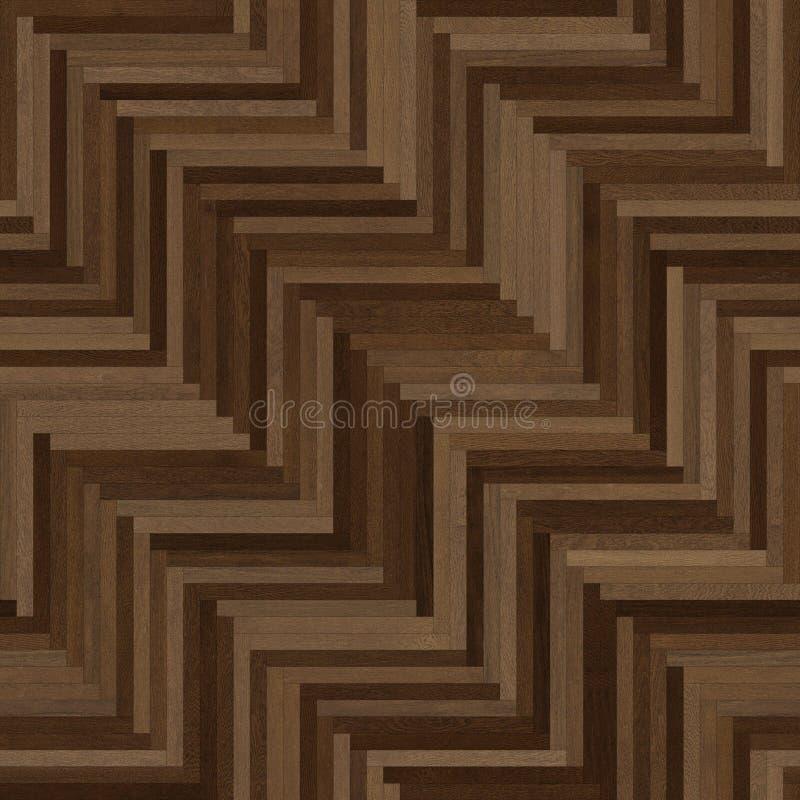 无缝的木木条地板纹理稀薄的人字形黑褐色 库存例证