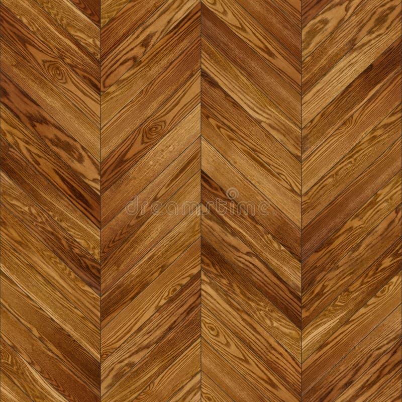 无缝的木木条地板纹理V形臂章褐色 库存图片