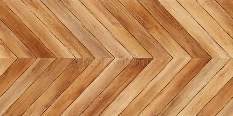 无缝的木浅褐色木条地板纹理水平的V形臂章 免版税库存图片