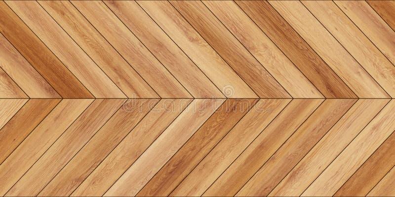 无缝的木浅褐色木条地板纹理水平的V形臂章 免版税库存照片