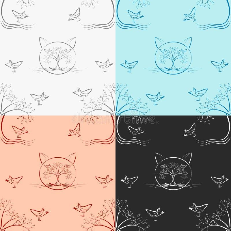 无缝的木猫样式四颜色版本 皇族释放例证