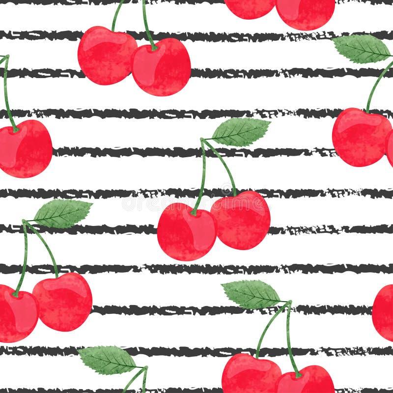 无缝的条纹图形用水彩樱桃 皇族释放例证