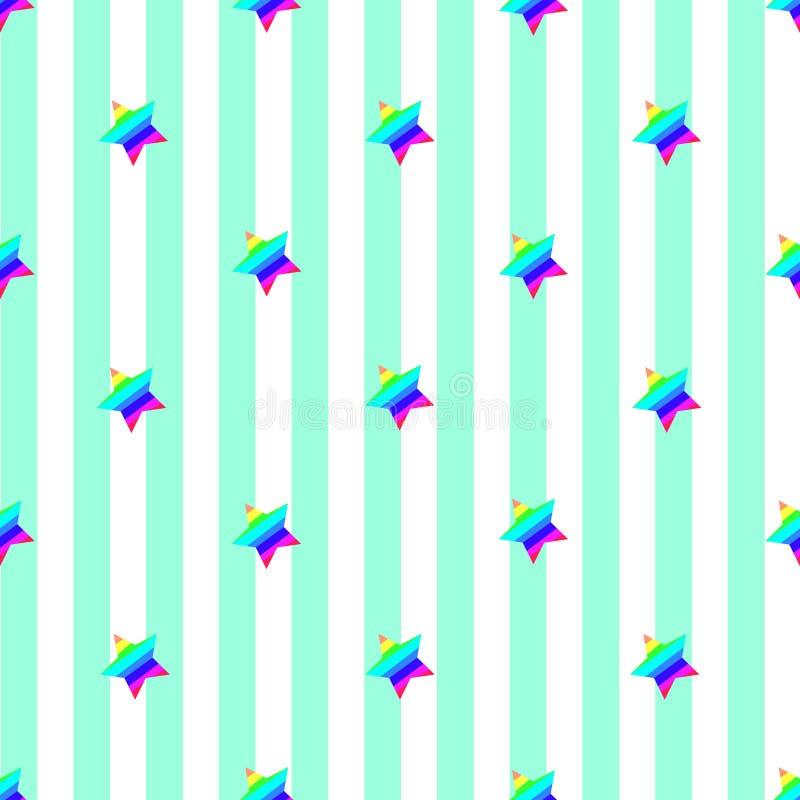 无缝的条纹样式摘要传染媒介背景减速火箭的设计浅兰的垂直的绿线被装饰的彩虹上色了星 向量例证