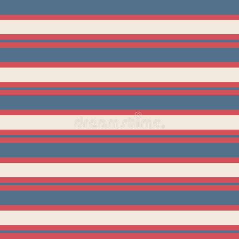 无缝的条纹葡萄酒样式有色的水平的平行的红色的条纹,蓝色和奶油色背景 向量例证